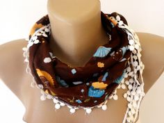 summer fashion scarf brown floral print fabric by scarvesCHIC, $8.50