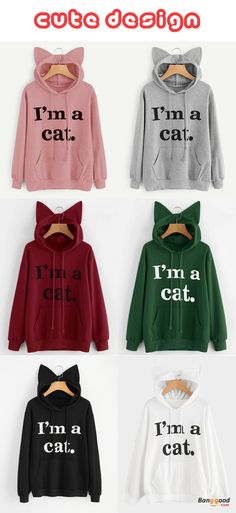 US$22.99 + Free shipping. Size: S~3XL. Color: Black, Burgundy, Gray, Green, Pink, White. Fall in love with casual and brief style! Casual Loose Letter Print Solid Color Cat Ears Hooded Hoodies. #hoodies #sweatshirts #plussize #outfit #cat