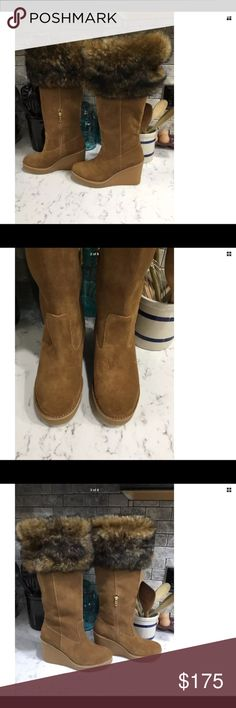 cc1bc41093a2 UGG Australia Vahlberg Fur Topped Suede Boots UGG Australia VALBERG FUR  Chestnut SUEDE TALL BOOTS Wedge