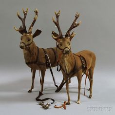 Pair of Papier-mache Reindeer Christmas Trends, Christmas Past, Christmas Inspiration, Christmas Holidays, Christmas Crafts, Christmas Decorations, Christmas Deer, Christmas Mantles, Silver Christmas