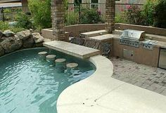 pools with outdoor kitchen | Pool and outdoor kitchen | Frick's