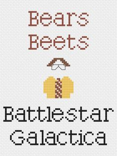 """The Office-inspired """"Bears, Beets, Battlestar Galactica"""" quote cross stitch pattern"""