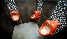 Mick Jagger Mouth Urinals Based on the band's classic logo, brought to you by men's room mostly modeled in western Europe. Rolling Stones, Cool Toilets, Mick Jagger, Dream Rooms, Just For Fun, Good Things, My Style, Stylish, Unique