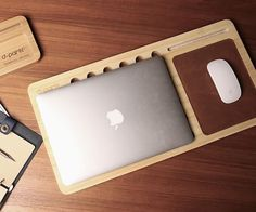 The keyboard area perfectly nestles the Apple Keyboard with a slight cut-out which is lined with a slip resistant material.