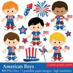 Items similar to American Boys - of July - Digital paper and clip art set on Etsy