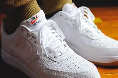 White Croc Nike Air Force 1 Low With a Gum Bottom