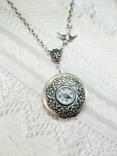 Compass Locket Necklace - Silver Compass Locket - Guidance  - Steampunk Jewelry by BirdzNbeez. $26.00, via Etsy.