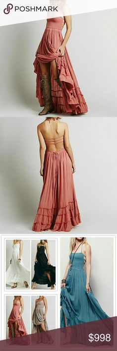 COMING SOON  Hippie Backless Halter Maxi Amazing long pink maxi dress, spaghetti strap Halter, sexy open back, stretch top for easy fit, elastic waist.  See above chart for sizing and measurements. Boutique  Dresses Maxi