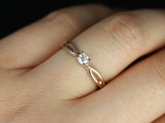 Ultra Petite Erika 14kt Rose Gold Round Diamond Double Twist Engagement Ring (Other metals and stone options available)