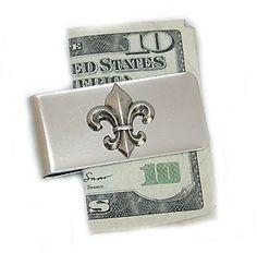 Money Clip with Silver Fleur de Lis Great Gift for Men