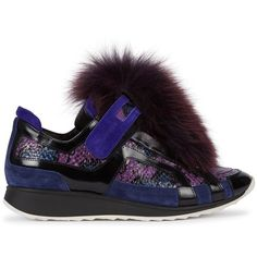 Pierre Hardy Womens Low-Top Trainers Pierre Hardy Detachable Fur Panelled Trainers featuring polyvore, women's fashion, shoes, sneakers, snake skin shoes, snakeskin sneakers, pierre hardy sneakers, strap sneakers and fur shoes