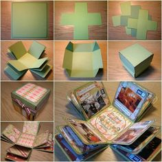 "http://www.bottlemeamessage.com How to DIY Creative Box Photo Album! Photos record valuable memories of people. Creating a unique representation of photos help to bring up all those valuable memories. This cute box album is a pleasant little surprise for the receiver because it opens, or ""explodes"", into a cool little album when the lid is taken off. It makes a great gift for family and friends! #diyphotoalbum #greatgiftidea #coolalbumidea"
