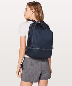 This backpack was designed for a quick work-to-workout transition with a built-in pocket for sweaty gear