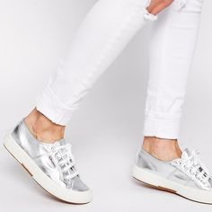 Silver Metallic Superga Sneakers, Sz 5 Too small on me! Silver metallic fabric upper (light reflects), rubber outside, cushioned footbed, very comfortable if in the correct size. These are marked EU 35, which is compatible to a US 5. I am a true US size 6 narrow and these are just a bit too small. I think a narrow 5.5 can wear these. Worn one time and switched to another pair after an hour. Only bottoms look worn. Superga Shoes Sneakers