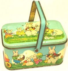 Antique Tins      Advertising Memorabilia      Antique Toys, Games and Banks      Sand Pails      Antique Christmas and Holiday Items      Commemoratives & Historical Memorabilia    Tindeco Peter Rabbit's Easter Greeting lunch box c1925