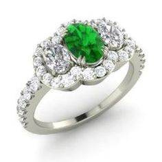 Emerald  Ring in 14k White Gold with VS Diamond, Diamond (1.93 ct.tw.) - Crispin