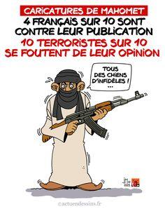 Faut-il publier les caricatures de Mahomet ? Plus de quatre Français sur dix (42%) estiment qu'il faut éviter de publier des caricatures du prophète Mahomet, et près de la moitié (49%) ne sont pas favorables à une limitation de la liberté d'expression...