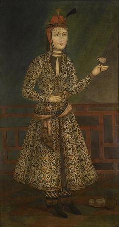 بانوی نجیب زاده با گل رز، اصفهان، حدود 1680-1720 میلادی، رنگ و روغن روی بوم، 88.8 در 165.1 سانتیمتر Portrait of a noblewoman with a Rose', Iran, Isfahan, Safavid, circa 1680-1720 oil on canvas 165.1 BY 88.8 CM