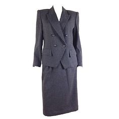 NEW-RARE-Vintage-80s-Sassoon-Grey-Gray-Flannel-Skirt-Suit-DEADSTOCK-SZ-M-6-8