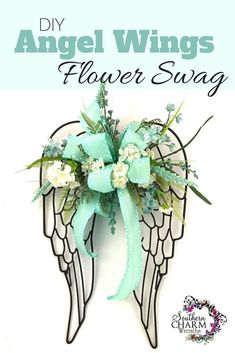 Home Decoration Country DIY Angel Wings Flower Swag by Southern Charm Wreaths Decoration Country DIY Angel Wings Flower Swag by Southern Charm Wreaths Grave Flowers, Cemetery Flowers, Funeral Flowers, Silk Flowers, Diy Angel Wings, Angel Wings Wall Decor, Diy Wings, Angel Decor, Diy Angels