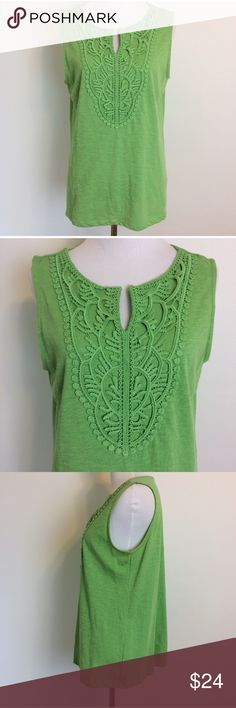 """Talbots Green Crocheted Tank Top Talbots green tank top with Crocheted Bodice. Size small but could fit up to medium as well. 100% cotton. Underarm measurement is 19"""". Length is 23.5"""". Talbots Tops"""