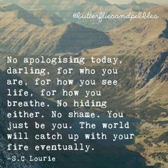 No apologizing today, darling. For how you see life. No shame. You just be you. The world will catch up with your fire eventually.C Lourie Shame Quotes, Words Quotes, Wise Words, Sayings, Quotes To Live By, Love Quotes, Inspirational Quotes, Motivational, Awesome Quotes