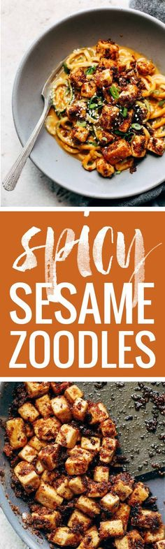 Spicy Sesame Zoodles with Crispy Tofu! SUPER easy recipe with familiar ingredients - soy sauce, peanut butter, sesame oil, garlic, zucchin. Zoodle Recipes, Spiralizer Recipes, Tofu Recipes, Asian Recipes, Whole Food Recipes, Vegetarian Recipes, Vegan Vegetarian, Cooking Recipes, Healthy Recipes