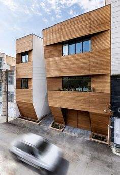 Afsharian's House by ReNa Design has a huge vertical slice in its facade Architecture Résidentielle, Amazing Architecture, Contemporary Architecture, Architect Design House, House Design, Wooden Facade, Decor Interior Design, Room Interior, Blog Inspiration