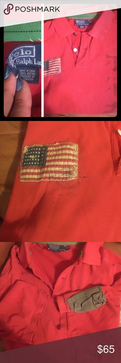 Men's distressed polo shirt Red polo shirt with distressed looK. Tattering on bottom of shirt is purposeful. Japanese? or Asian lettering on front, patch of American flag on front and patch/pocket on sleeve. Inside tag at neck is loose (not stitched) on one side. Polo by Ralph Lauren Shirts Polos