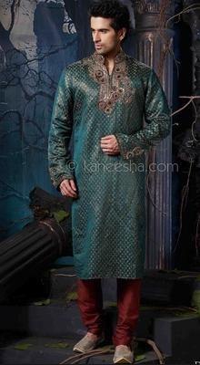 Turquoise Jacquard Fabric Kurta Pajama