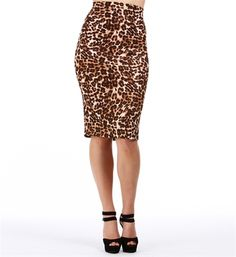 Leopard Pull On Midi Skirt
