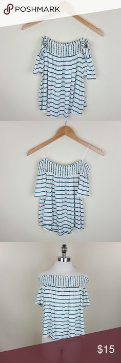 Stripped off shoulder top Striped off shoulder top  Content 96% rayon 4% spandex Length 18 in Tops Blouses