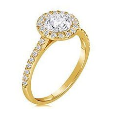 1.59 Ct Round Cut D/VVS1 Solitaire Engagement Ring 14K Yellow Gold # Free Stud Earring by JewelryHub on Opensky