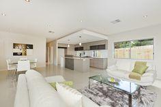 Bulkhead Over Kitchen, Lots of Natural Light & Modern Finishes. Empire Design, Outdoor Furniture Sets, Outdoor Decor, Open Plan Living, Modern Lighting, Brisbane, Natural Light, Dining Bench, New Homes