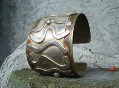 BIg Bold mixed metal cuff bracelet  by JoDeneMoneuseJewelry