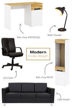 Új ötletet hoztunk nektek, hogyan rendezzétek be irodátokat, vagy otthoni dolgozószobátokat modern és praktikus bútorokkal. #iroda#office#irodaidesign#officedesign#dolgozószoba#workroom#ideas#ötlet Ravenna, Office, Modern, Chair, Furniture, Home Decor, Trendy Tree, Decoration Home, Room Decor