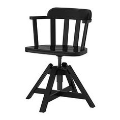 IKEA - FEODOR, Swivel chair with armrests, black,  , , You sit comfortably since the chair is adjustable in height.The curved bent wood back and arm rests are both comfortable and stylish.