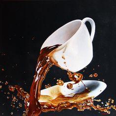 Spilled the coffee! Splash Photography, Coffee Photography, Creative Photography, Coffee Zone, My Coffee, Coffee Cups, Foto Macro, Coffee Artwork, Realistic Paintings