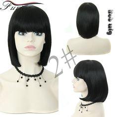 Synthetic Hair Bob Wigs for Black White Women Fashion Cute Girls Short Length Straight Hair Wigs with Cut Bangs Cheap Black Wig