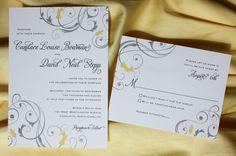 Custom Wedding Stationery By Emdotzee Ideas Invitations Yellow And Grey