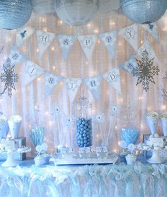 Snow Fairy Winter Wonderland Party Decorations - Banner, Cupcake Toppers and MORE - Blue Fairy Collection - Gwynn Wasson Designs PRINTABLES. $27.00, via Etsy.