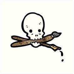 cartoon skull holding paintbrush in mouth