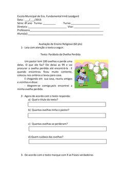 Um modelo de avaliação de Ensino Religioso para o 4º ano do ensino fundamental