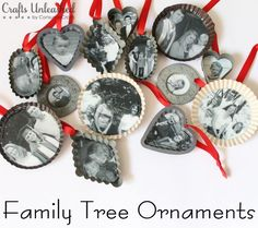 Family tree Christmas ornaments, made with prints of old family photos.
