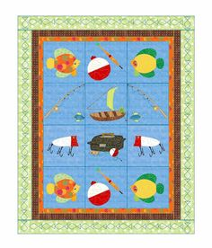 Fishing Quilt Pattern Go Fish  by KinderGardenDesigns on Etsy, $10.60