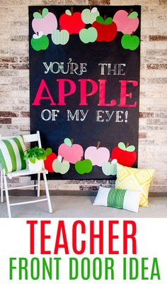 Teacher Gifts : Apple Teacher Door Ideas with Cricut by Lindi Haws of Love The Day Back To School Party, Back To School Gifts, Illustration Vector, Illustrations, Teacher Appreciation Gifts, Teacher Gifts, Teacher Stuff, Clipart, Apple Classroom