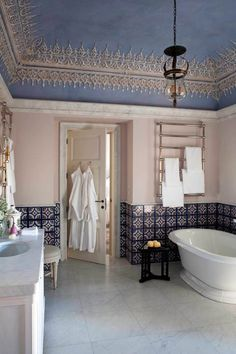 This is just beautiful! Love the old tile...and that ceiling!