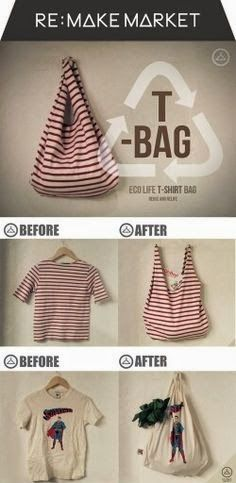 Diy Sewing Projects How To Make a No Sew T-Shirt Tote Bag in 10 Minutes - This no sew t-shirt tote bag made from old t-shirts can be whipped up in just ten minutes! It's perfect as a DIY tote or farmer's market bag. Sewing Hacks, Sewing Crafts, Sewing Projects, Sewing Tips, Sewing Tutorials, Teen Crafts, Bags Sewing, Bag Tutorials, Diy Projects No Sew