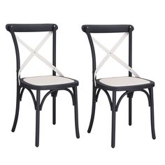 Joveco Econ-Friendly Nylon Vintage-Style Dining Chair Curved Leg Cross Back, Classic Black and French White (Set of 2)