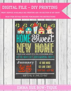 House Warming Party digital file change wording! (Home-houses01) new home housewarming chalkboard BBQ House warming shabby chic invite party invitation rustic EmmaSueBowtique 7.50 USD